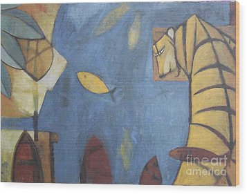 Wood Print featuring the painting Fish And Tiger by Glenn Quist