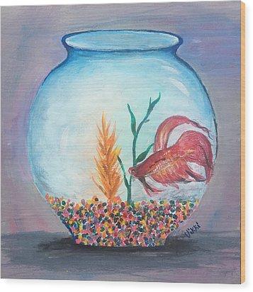 Fish Bowl Wood Print