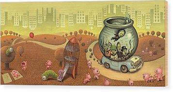 Fish Circus - Landscape Wood Print by Luis Diaz
