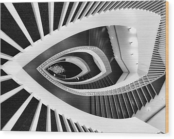 Fish-eye Abstract Staircase Wood Print by Elena Kovalevich