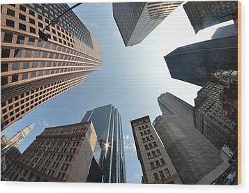 Fish-eye Lens Of Building Wood Print by Robin Houde photography