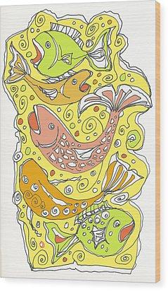 Fish Fish Wood Print by Linda Kay Thomas