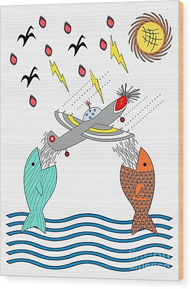 Fish Food Wood Print by Methune Hively