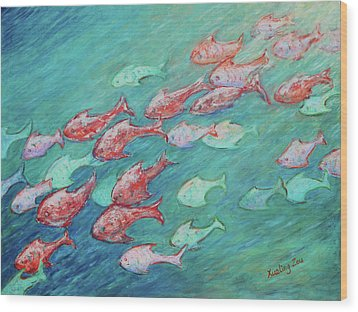 Wood Print featuring the painting Fish In Abundance by Xueling Zou