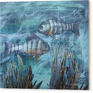 Fish In Icy Water Wood Print by Patricia Januszkiewicz