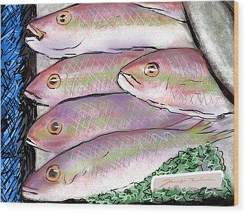 Wood Print featuring the digital art Fish Market by Jean Pacheco Ravinski