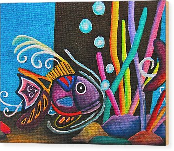 Wood Print featuring the painting Fish On Parade by Lori Miller