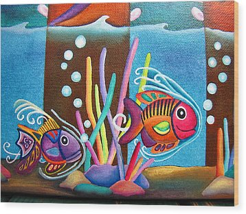 Wood Print featuring the painting Fish On Parade Two by Lori Miller