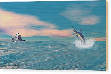 Fish On Wood Print by Walter Colvin