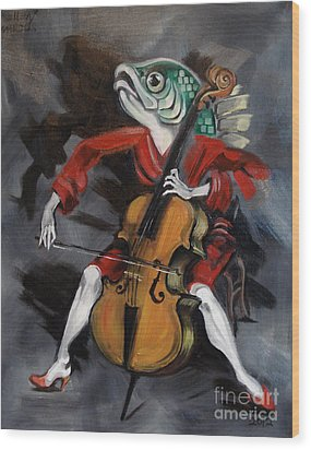 Fish Playing Cello Wood Print by Ellen Marcus