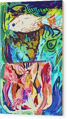 Fish Soup Wood Print by Mindy Newman