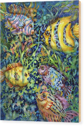 Fish Tales Iv Wood Print by Ann  Nicholson