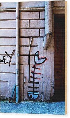 Fishbone Graffiti Wood Print by Ferry Ten Brink