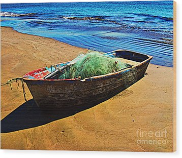 Fisher Boat By Michael Fitzpatrick Wood Print by Mexicolors Art Photography
