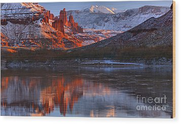 Wood Print featuring the photograph Fisher Towers And La Sal Mountains by Adam Jewell