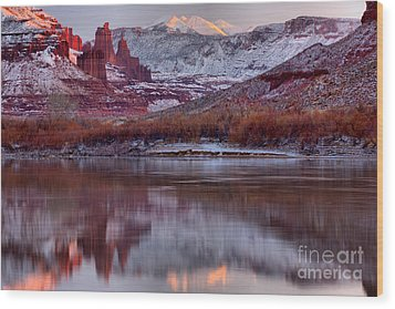 Wood Print featuring the photograph Fisher Towers Fading Sunset by Adam Jewell