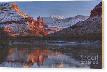 Wood Print featuring the photograph Fisher Towers Sunset Glow Panorama by Adam Jewell