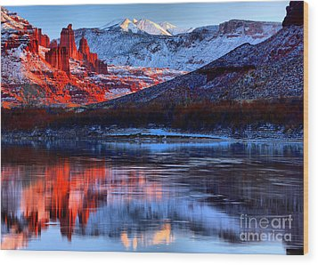 Wood Print featuring the photograph Fisher Towers Sunset Winter Landscape by Adam Jewell