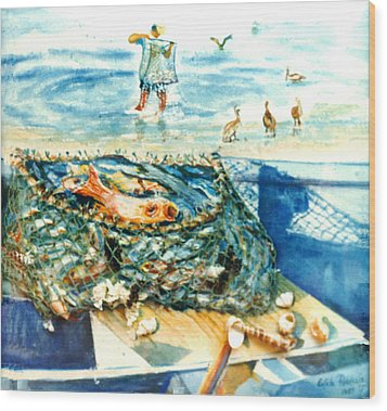 Fisherman And His Assistants Wood Print by Estela Robles