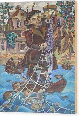 Fisherman Wood Print by Andrey Soldatenko