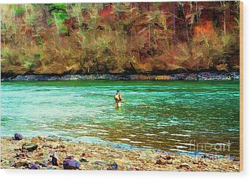 Wood Print featuring the photograph Fisherman Hot Springs Ar In Oil by Diana Mary Sharpton