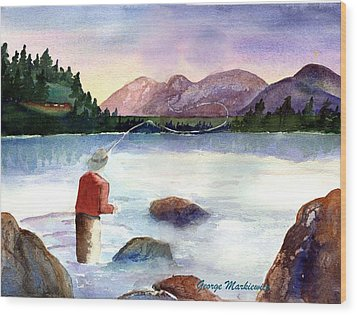 Fisherman In The Morning Wood Print by George Markiewicz