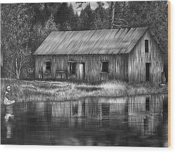 Fisherman Wood Print by Jerry Winick