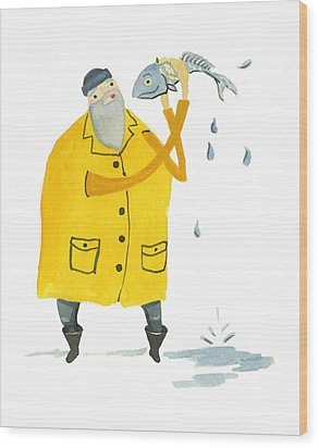 Wood Print featuring the painting Fisherman by Leanne WILKES
