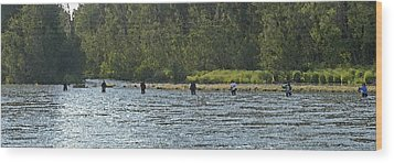 Fisherman Lineup Kenai River Wood Print by Mary Gaines