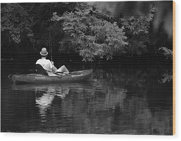 Fisherman On Lady Bird Lake - Bw Wood Print