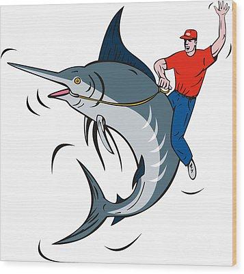 Fisherman Riding Marlin Wood Print by Aloysius Patrimonio