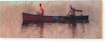 Fisherman Wood Print by Alex Galkin
