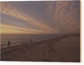 Fishermen Fishing In The Surf At Sunset Wood Print by Todd Gipstein