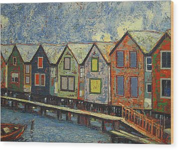 Wood Print featuring the painting Fishermen Huts by Walter Casaravilla