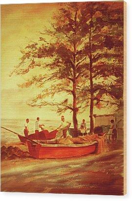 Fishermens Sunset Wood Print by Estela Robles