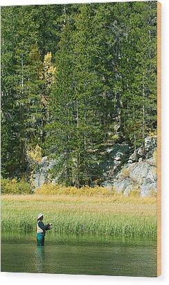 Wood Print featuring the photograph Fisherwoman - Eastern Sierra California by Ram Vasudev