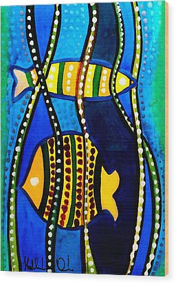 Wood Print featuring the painting Fishes With Seaweed - Art By Dora Hathazi Mendes by Dora Hathazi Mendes