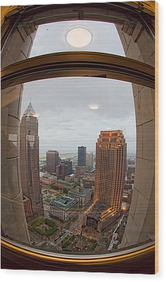 Fisheye View Of Cleveland From Terminal Tower Observation Deck Wood Print by Kathleen Nelson