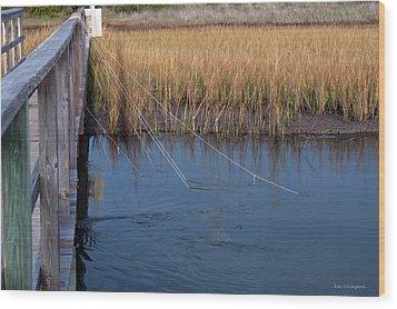 Fishin' Lines Wood Print