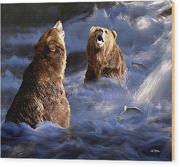 Fishing Alaska Wood Print