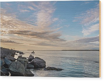 Fishing Along The South Jetty Wood Print by Greg Nyquist