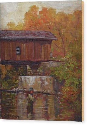 Fishing At Creek Road Bridge Wood Print by Nora Sallows