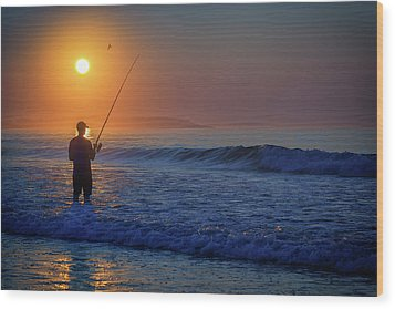 Wood Print featuring the photograph Fishing At Sunrise by Rick Berk
