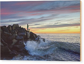 Fishing At Sunset Wood Print by Ann Patterson