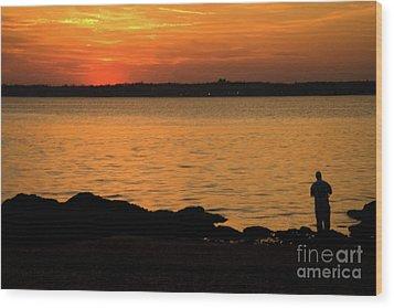 Fishing At Sunset Wood Print by Karol Livote