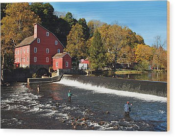 Fishing At The Old Mill Wood Print