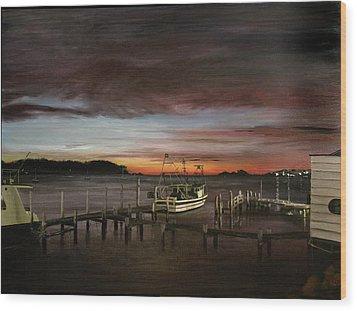 Fishing Bay At Sunrise Wood Print by Elisabeth Dubois