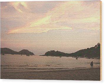 Fishing Bay At Sunset Wood Print by James Johnstone