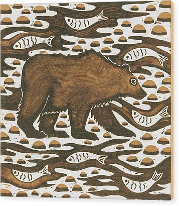Fishing Bear Wood Print