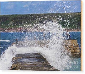 Fishing Beyond The Surf Wood Print by Terri Waters